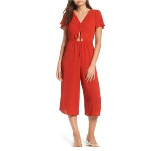 Leith women's red cinch front jumpsuit
